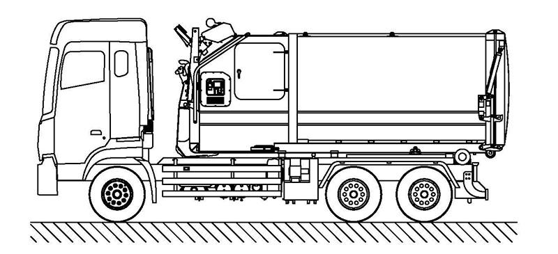 The principle and layout of Fulongma brand garbage truck with a detachable compartment