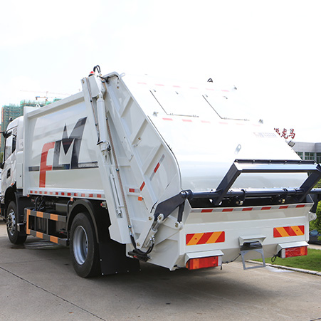 How does the FULONGMA 12-15 square rear load garbage truck work?